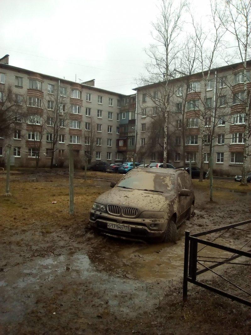 В Петергофе водитель BMW заехал на газон и застрял bmw, автохам, быдло, газон