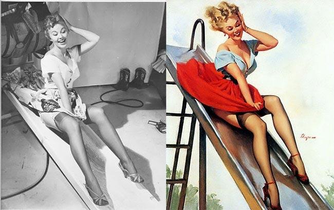 Гил Элвгрен, Gil Elvgren, пинап модели до того как превратили в рисунки, пинап рисунки