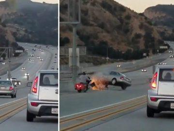 байкер, авто, пинок, авария,